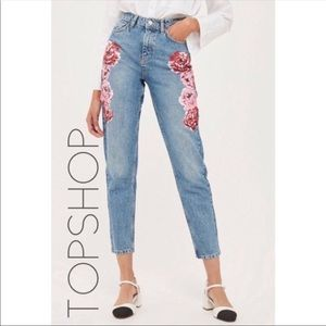 Topshop Mom Moto high rise floral plus jeans 34
